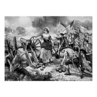 Molly Pitcher Firing Cannon at Battle of Monmouth Print
