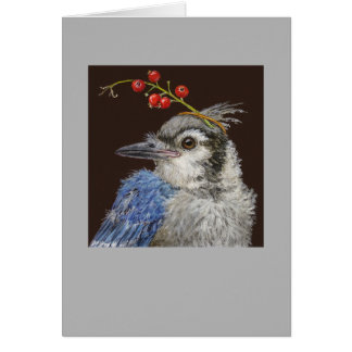 Molly the fledgling blue jay card