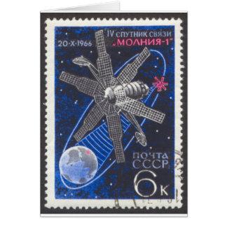 Molniya Communications Satellite Stationery Note Card