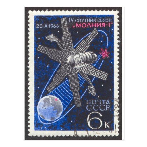Molniya Communications Satellite Postcard
