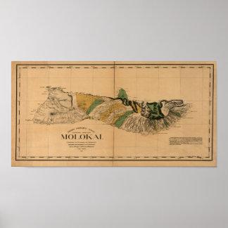 Molokai, 1897, mapa de Hawaii del vintage Posters