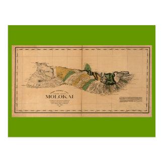 Molokai, 1897, mapa de Hawaii del vintage Postales