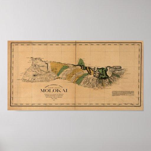 Molokai, 1897, Vintage Hawaii Map Poster