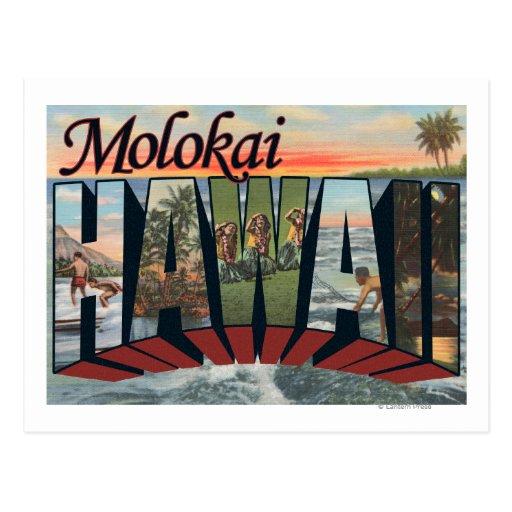 Molokai, Hawaii - escenas grandes de la letra Tarjeta Postal