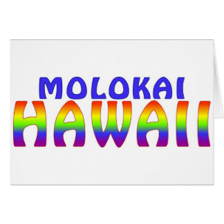 Molokai Hawaii rainbow writing Card
