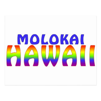Molokai Hawaii rainbow writing Postcard