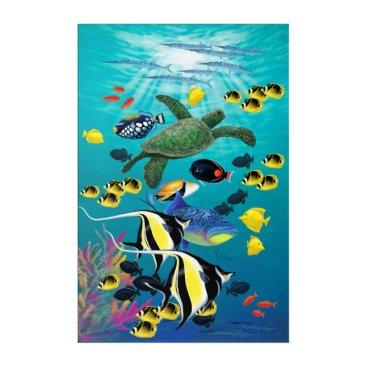 Hawaiian Themed Molokini Cove Hawaiian Tropical Fish Illustration Acrylic Wall Art