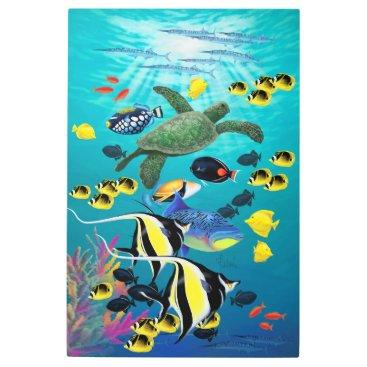Hawaiian Themed Molokini Cove Hawaiian Tropical Fish Illustration Metal Print