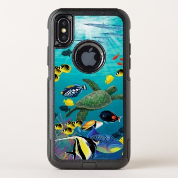 Hawaiian Themed Molokini Cove Hawaiian Tropical Fish Illustration OtterBox Commuter iPhone X Case