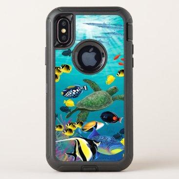 Hawaiian Themed Molokini Cove Hawaiian Tropical Fish Illustration OtterBox Defender iPhone X Case