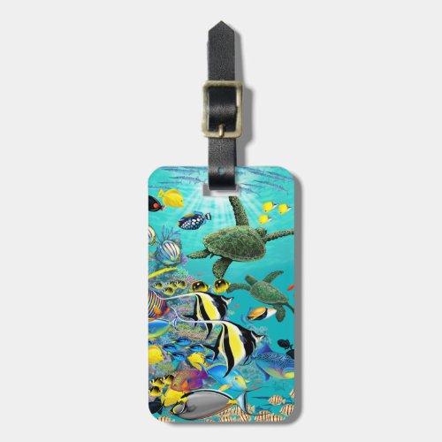 Molokini Cove Hawaiian Tropical Fish Sea Turtle Bag Tag
