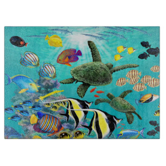 Molokini Cove Hawaiian Tropical Fish Sea Turtle Cutting Board