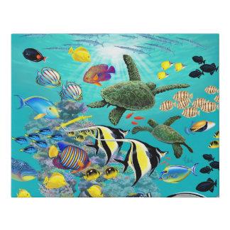 Molokini Cove Hawaiian Tropical Fish Sea Turtle Faux Canvas Print