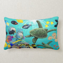 Molokini Cove Hawaiian Tropical Fish Sea Turtle Lumbar Pillow