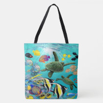 Molokini Cove Hawaiian Tropical Fish Sea Turtle Tote Bag