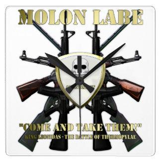 Molon Labe - 2da enmienda Reloj Cuadrado