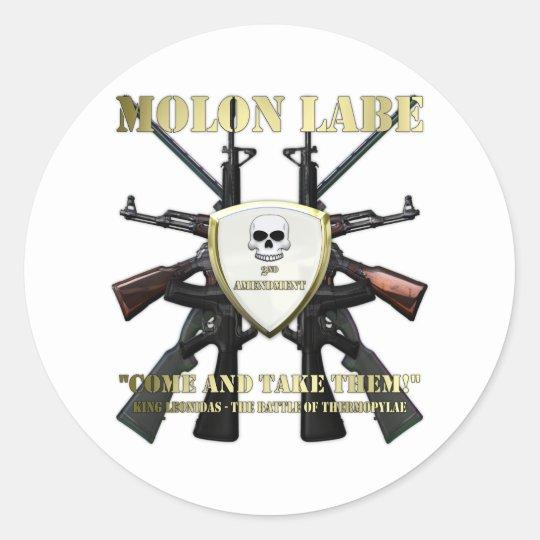Molon Labe - 2nd Amendment Classic Round Sticker