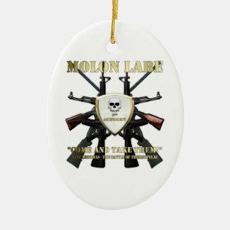 Molon Labe - 2nd Amendment Double-Sided Oval Ceramic Christmas Ornament