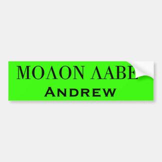 Molon Labe, acto SEGURO del NY de Cuomo Pegatina Para Auto