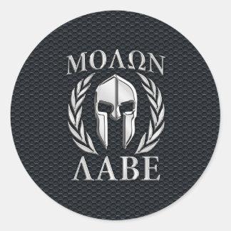 Molon Labe Chrome Like Spartan Helmet on Grille Classic Round Sticker