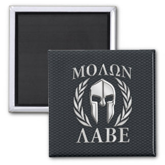 Molon Labe Chrome Like Spartan Helmet on Grille Magnet