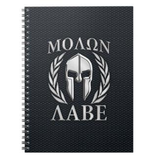 Molon Labe Chrome Like Spartan Helmet on Grille Spiral Notebook