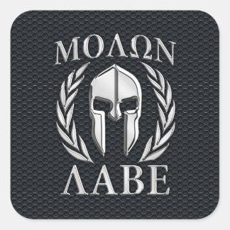 Molon Labe Chrome Like Spartan Helmet on Grille Square Sticker
