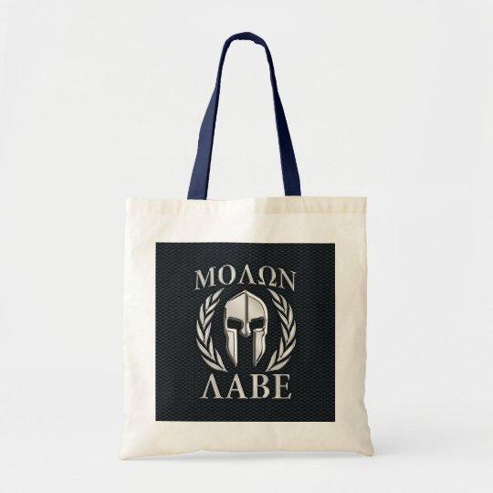 Molon Labe Chrome Like Spartan Helmet on Grille Tote Bag