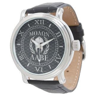Molon Labe Chrome Like Spartan Mask Dial Grille Wristwatches