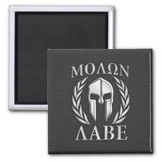 Molon Labe Chrome Spartan Helmet on Carbon Fiber 2 Inch Square Magnet