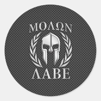Molon Labe Chrome Spartan Helmet on Carbon Fiber Classic Round Sticker