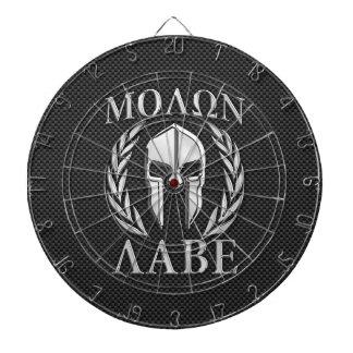 Molon Labe Chrome Spartan Helmet on Carbon Fiber Dart Boards