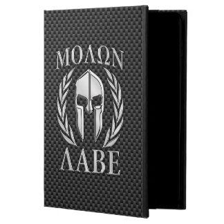 Molon Labe Chrome Spartan Helmet on Carbon Fiber iPad Air Covers
