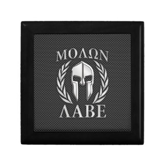 Molon Labe Chrome Spartan Helmet on Carbon Fiber Jewelry Box