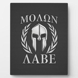 Molon Labe Chrome Spartan Helmet on Carbon Fiber Plaque