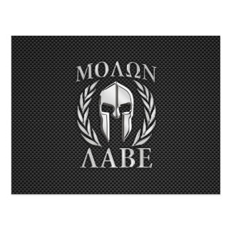 Molon Labe Chrome Spartan Helmet on Carbon Fiber Postcard