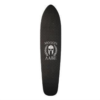 Molon Labe Chrome Spartan Helmet on Carbon Fiber Custom Skateboard