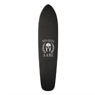 Molon Labe Chrome Spartan Helmet on Carbon Fiber Skateboard Deck