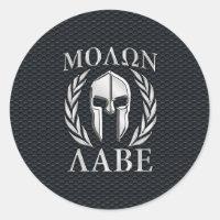 Molon Labe Chrome Spartan Helmet on Grille Classic Round Sticker