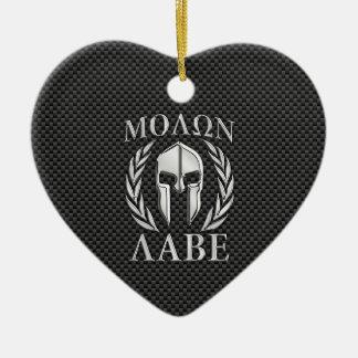 Molon Labe Chrome Style Spartan Armor Carbon Fiber Ceramic Ornament