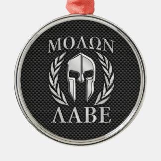 Molon Labe Chrome Style Spartan Armor Carbon Fiber Metal Ornament