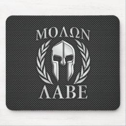 Molon Labe Chrome Style Spartan Armor Carbon Fiber Mouse Pad