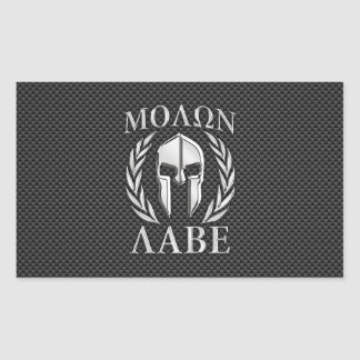 Molon Labe Chrome Style Spartan Armor Carbon Fiber Rectangular Sticker