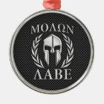 Molon Labe Chrome Style Spartan Armor Carbon Fiber Round Metal Christmas Ornament