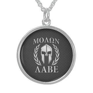 Molon Labe Chrome Style Spartan Armor Carbon Fiber Round Pendant Necklace
