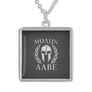 Molon Labe Chrome Style Spartan Armor Carbon Fiber Square Pendant Necklace