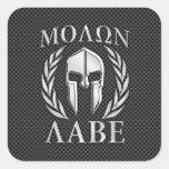 Molon Labe Chrome Style Spartan Armor Carbon Fiber Square Sticker