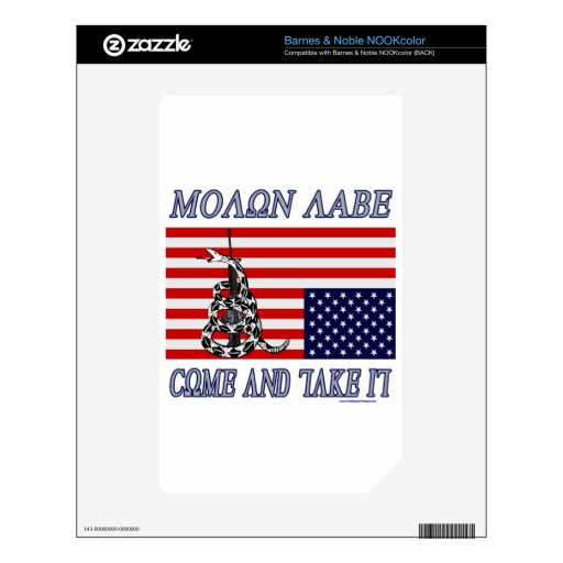 Molon Labe - Come and Take Decal For The NOOK Color