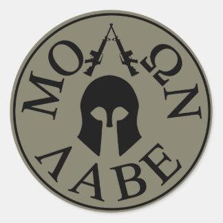 Molon Labe, Come and Take Them Classic Round Sticker