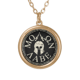 Molon Labe, Come and Take Them Gold Plated Necklace